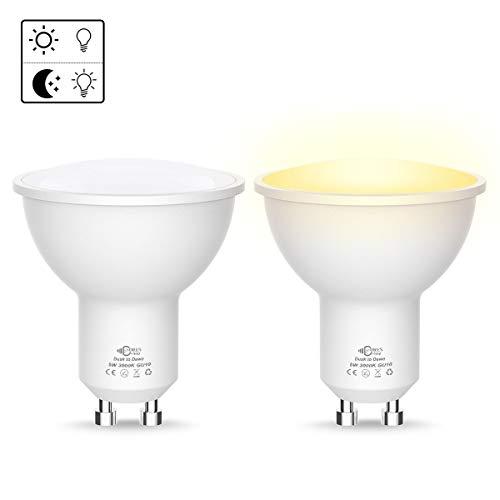 2X 5W GU10 Lampadina LED, Luohaoshi Alba-Tramonto Con Funzione on/off, Bella Bianco Caldo 3000K, 450LM, Angolo di Diffusione 120 °, Perfetto per Corridoio, Corridoio