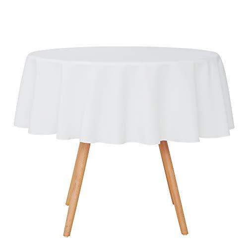 UMI. by Amazon Nappe Rond Blanche 160cm Decoration Table Basse de Jardin en Salon Impermeable pour Mariage Exterieur