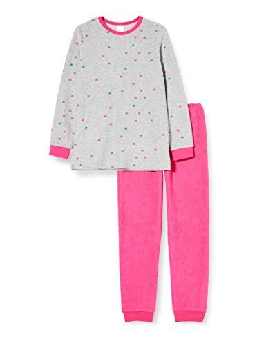 Schiesser Kinder-Schlafanzug Frottee grau meliert/Fuchsia Größe 116