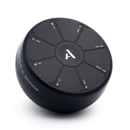 Artiphon Orba portabler Synthesizer Looper Midi-Controller für Unterwegs (8 feinfühlige Touchpads, Bewegungs- und Lagesensoren, Onboard Looper mit 4 Spuren, Bluetooth LE Midi, inkl. Orba-App), Schwarz