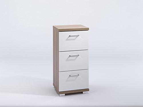 HOMEXPERTS Badezimmer Seitenschrank NUSA in Sonoma Eiche Hochglanz weiß lackiert / Kleiner Badschrank mit 3 Schubladen und silberfarbenen Griffen / 35.5 x 31.5 x 74 cm (B x T x H)