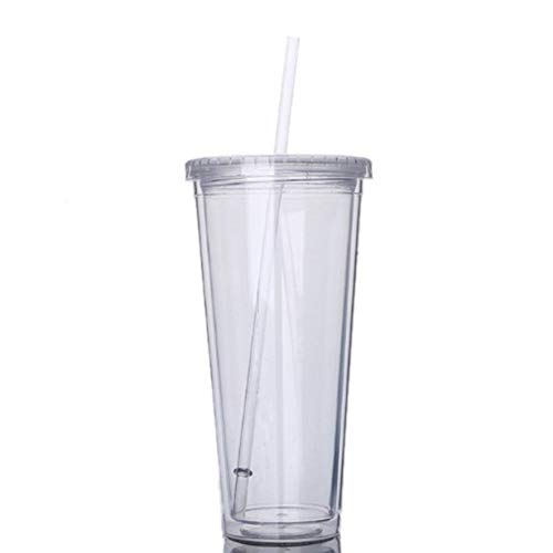 Rouku Vaso portátil de Viaje de 650 ml con Paja Botella de Agua de Jugo de Fruta de plástico Deportivo Taza sellada Plástico de Doble Capa (Color: Transparente)