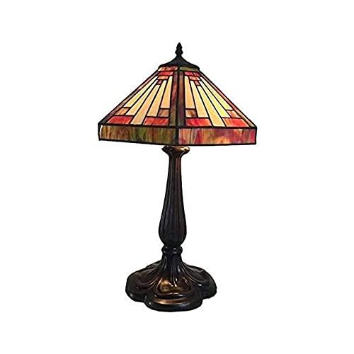 Lámpara de Mesa, Cristal Manchada Lámpara Lámpara de mesa, luces de noche de mini lámpara, estilo de bronce de estilo y lámpara de mesa de cristal de manchas de manchas rojas y blancas para dormitorio