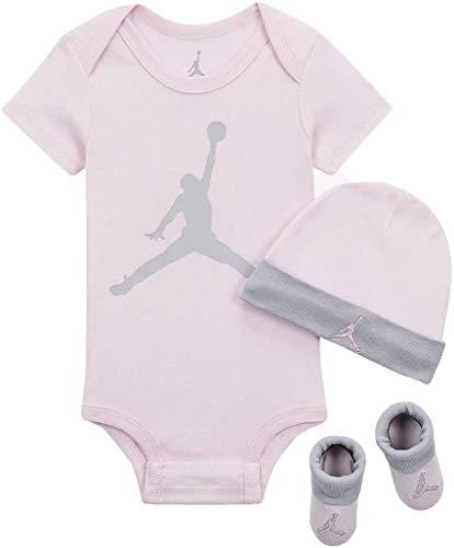 Jordan Baby - Juego de 3 piezas, 6-12 Meses, Espuma rosa (lj0041-a9y)/gris