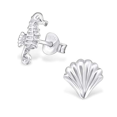 The Rose & Silver Company Women 925 Sterling Silver Shell And Seahorse Stud Earrings