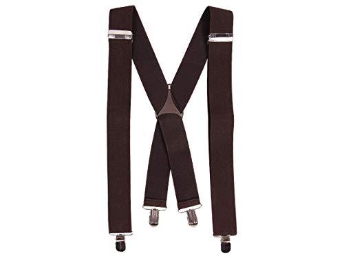 Alsino Bretelle per Uomo | Marrone | Regolabili | Elastici | Forma a X | con 4 Clip | Restistenti ed Eleganti | Unisex | Donna
