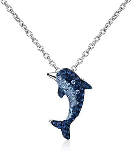 BACKZY MXJP Collar Crystal Dolphin Necklace Collar De Cadena De Clavícula para Mujer