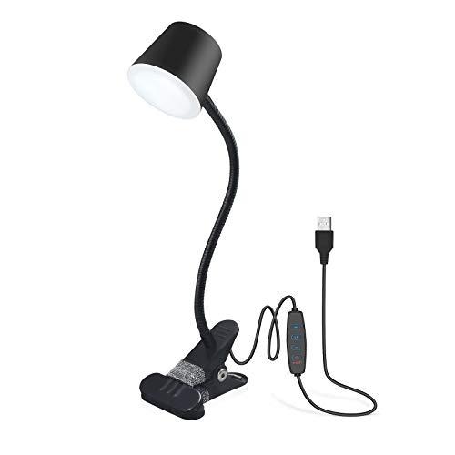 Klarlight Lámpara de lectura USB LED con pinza, 3 colores ajustables y regulables, clip portátil y lámpara de cuello de cisne flexible para escritorio/cama/Tattoo/maquillaje (negro)