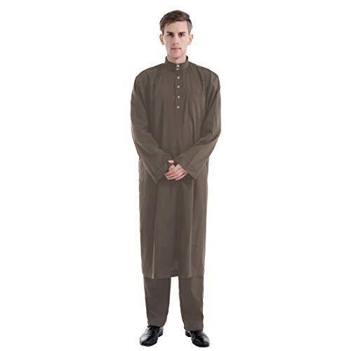 papasgix Herren Kaftan Muslim Araber Robe Einfarbrig Langarm Männer Bademantel Islamisch Lose Casual Hose Anzug mit Stehkragen