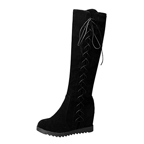 Stiefel Damen Mode Cross-Tied Reißverschluss Warm halten Winter Pure Farbe hoch (37,Schwarz)