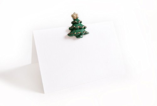 10pezzi bianco verde rosso Natale abeti di Cristo di albero parti sparse tavolo diffusa ornamentali Deko (M. punto appiccicoso) segnaposto Nome etichette, Carte Segnaposto tavolo di appoggio
