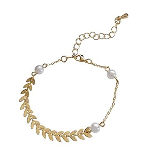 MENGHUA Pulsera creativa de perlas de trigo para mujer, para verano, para uso diario