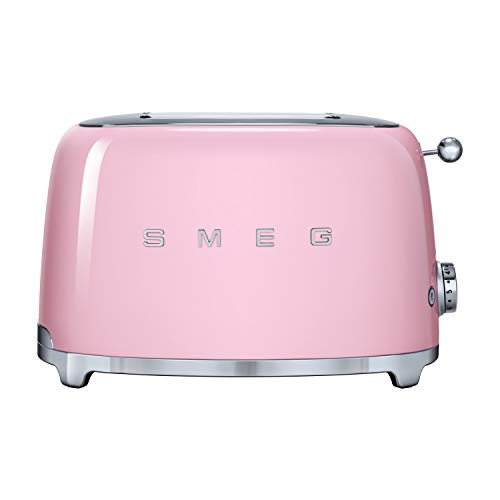 Smeg TSF01PKUK Retro 2 Slice Toaster, 6 Browning Levels, Extra-Wide Bread Slots, Defrost and Reheat Functions, Removable Crumb Tray, 950 W, Pink