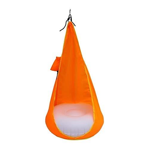 Hamacs Jardin Sport extérieur Hamacs 1 PORTIER Hamac fauteuil suspendu Balancelle sac en tissu Balancez Tissu Chaise Hanging avec coussin d'air et pompe à air for les enfants HBDZ ( Color : Orange )