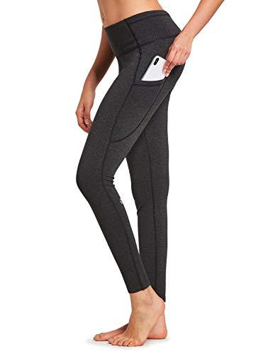 BALEAF Women's Fleece Lined High Waist Leggings Yoga Pocketed Tummy Control Pants Space Dye Black Size M