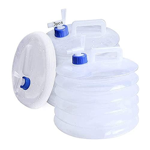 Anyingkai 3pcs Contenedor de Agua Plegable,Bidón de Agua PlegableContenedor de Agua Potable,Contenedor de Agua con Grifo,Contenedor de Agua Portatil,Cubo de Agua Plegable (10L)