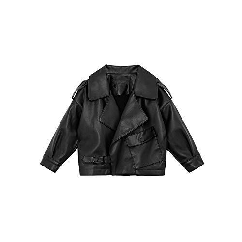 LJYH Toddler Girls Faux Leather Fleece Lined Motorcycle Jackets Winter Outwear Black T1-2