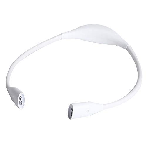 LED Halslampe Flexibel Umhängelampe Wiederaufladbar Leselampe mit 3 Lichtfarben zum Lesen, Basteln,Joggen, Häkeln, 1000mAh Akku (USB-Kabel enthalten) [Energieklasse A +++] (Weiss)