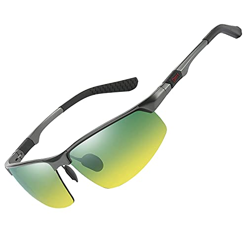 FEIDU Halbrahmen Polarisierte Klassische Metall Sonnenbrillen Herren-Retro Polarisierte Sonnenbrille Damen FD 3031 (GelbB)