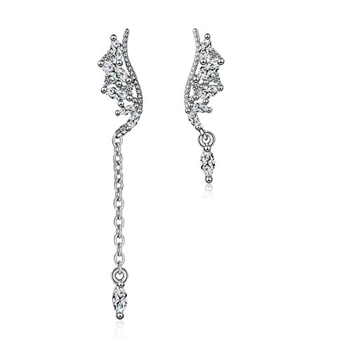 QYTSTORE S925 Sterling Silver Asymmetrical Wings Zircon Earrings, Fashion Luxury Engagement Jewelry Ladies Gifts Beautiful and stylish (Color : Golo)