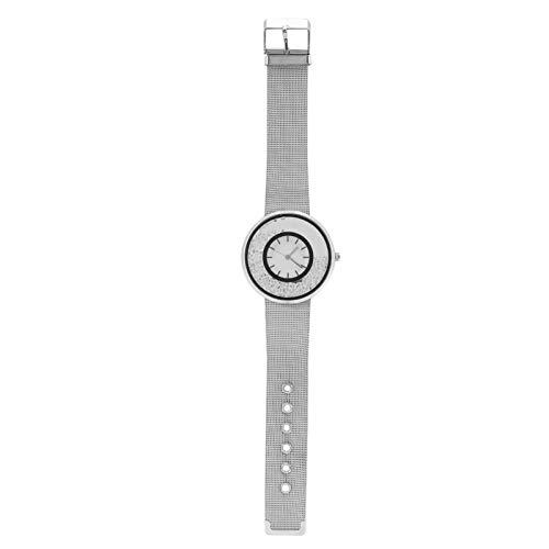 SALUTUYA Reloj de Cuarzo Reloj de Pulsera con Banda Suave Reloj de Pulsera Reloj analógico Reloj Redondo Cómodo de Llevar Caja de aleación de fácil Mantenimiento Reloj Durable para(Silver)