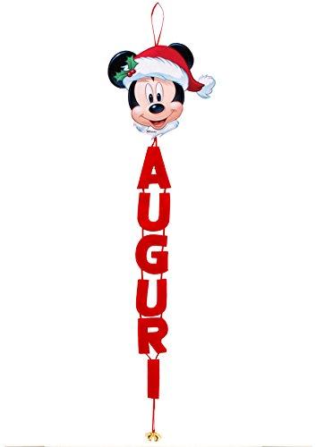 Ciao- Scritta Auguri in Panno Fuoriporta Disney Mickey con Campanellini, Rosso, 90889