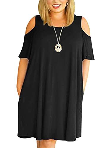 Nemidor Women's Cold Shoulder Plus Size Casual T-Shirt Swing Dress with Pockets (16W, Black)