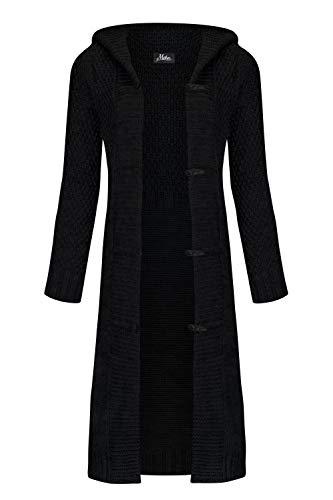 Mikos* Damen Cardigan Wolle Strickjacke mit Kapuze Long Lang Pulli Pullover Herbs Winter Beige Grau Schwarz S M L XL 36 38 40 42 (988) (Schwarz, XL)