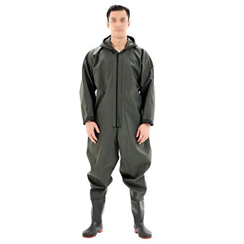 wasserdichte Watthosen, Wathose Herren mit Hut Arbeiten im Freien zum Angeln und Jagen Wasserdicht und Langlebig Arbeitskleidung (Color : Army Green, Size : 44)