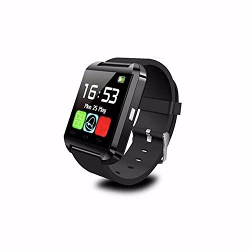MARSPOWER U8 Reloj de Pulsera Inteligente con pasómetro, altímetro, Reproductor de música y Respuesta a Llamadas para Mujeres y Hombres, Compatible con Android iOS Smartphone - Negro
