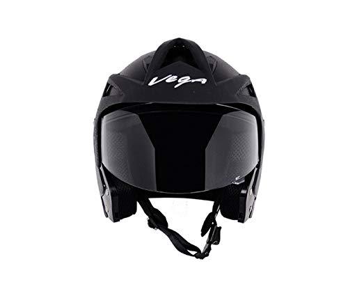 Vega Crux Half Face Helmet (Black, Medium)