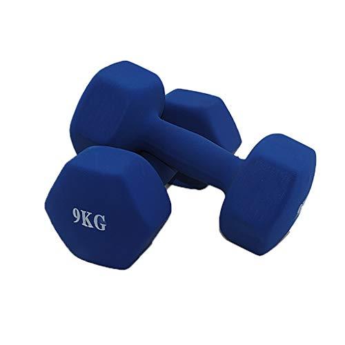Pesas Neopreno Recubierto de Pesas Pesas Set con Rack de Neopreno Peso de la Mano for el Entrenamiento de Fuerza, Entrenamiento de Cuerpo Entero Aptitud Física (Peso : 18KG(9kg*2))