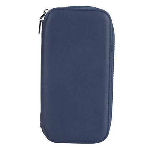Oumefar Bolsa de Almacenamiento de Tarjeta de Pasaporte, antirrobo RFID Bloqueo de chequera Monedero Tarjeta de identificación Efectivo Billetera Comercial Conveniencia para Viajar(Azul)