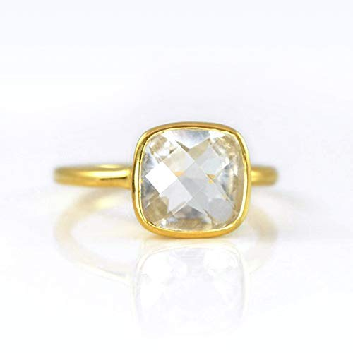 Clear Quartz Cushion Ring Stackable Gold silve Vermeil Manufacturer direct delivery Our shop most popular or