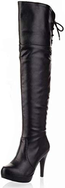 HAOLIEQUAN Knie Stiefel Damenmode Langstiefel Winterschuhe Winterschuhe Winterschuhe Flache Schuhe Schnee Warm Eur Größe 33-43  09e577