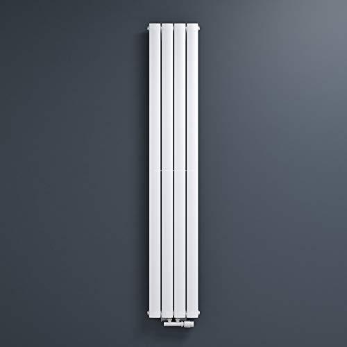 Mai & Mai Radiateur à Eau Chaude Mural Chauffage Central 180x31cm Radiateur Blanc Vertical en Acier Design Vertical