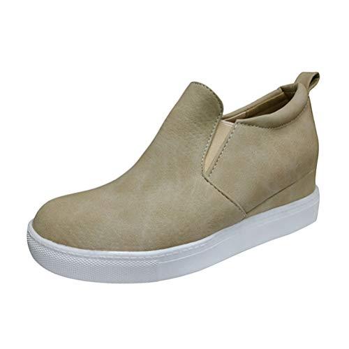 Minetom Zapatillas De Deporte De Cuña para Mujer Moda Estampado De Leopardo Plataforma Mocasines Loafers con Cremallera Antideslizante Botas Cortas