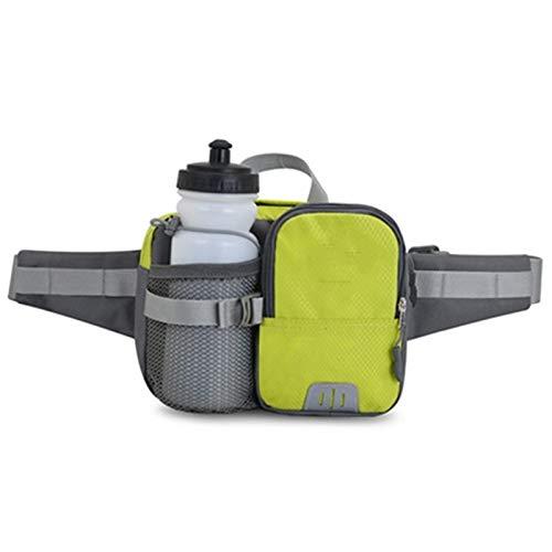 Paquete de la banda de hidratación de la bolsa de cintura corriendo maratón deporte fitness botella de agua bolsa fanny cintura paquete montando ciclismo bolsillo (Color : Green bottle)