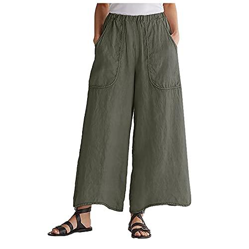Liably Pantalones ligeros de algodón y lino para mujer, con cintura alta, elegantes, para jogging,...