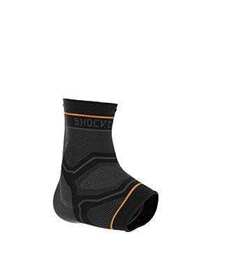 Shock Doctor Compression Knit Ankle Sleeve with Gel Support, Black/Grey, Adult-Large