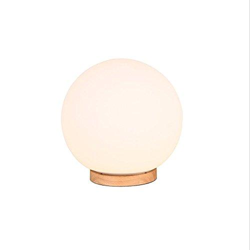 Lampe de table Desk Lamps Lampe de table à Boule Blanche Dimmable à Pied en Bois Nordique (Taille : Diameter14cm)
