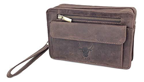 Echt Leder Handgelenktasche Vintage Büffelleder Herren Business Tasche Fashion Art.Nr.15 (Dunkelbraun)