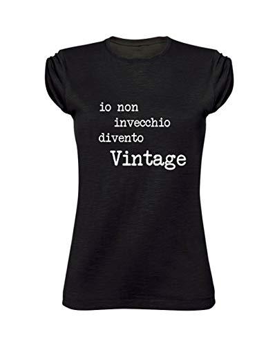 T-Shirt Donna Girocollo Taglio Vivo 100% Cotone Pettinato Fiammato - IO Non INVECCHIO DIVENTO Vintage- Made in Italy (XXL, Nero)
