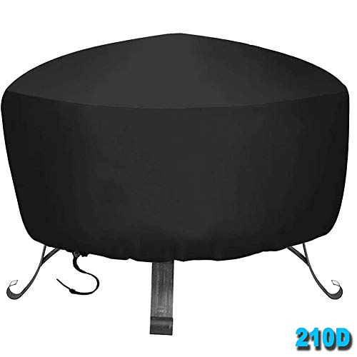 HHMH Round Barbecue Cover Waterproof, BBQ Cover, Grill Cover 210D Oxford Cloth, Large Outdoor Garden Grill BBQ Cover with Drawstring Cord, Waterproof & Dust-Proof & Anti-UV, Black,48x18 in