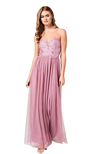 Little Mistress Phoebe Canyon Bandeau-Kleid mit Rosenmuster, handverziert Gr. 36, Canyon Rose