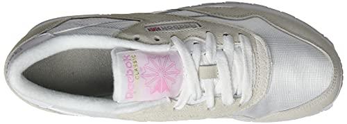 Reebok Women's Classic Nylon Sneaker, Blanc Blanc Grey Clair, 3.5 UK