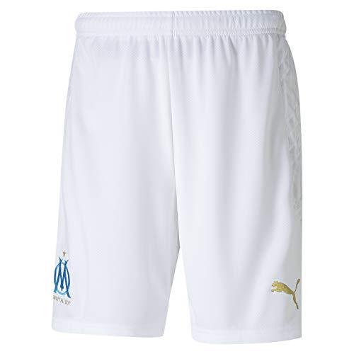 PUMA Olympique Marseille Saison 2020/21 – Shorts Replica White-Bleu Azur – Kurze Hose für Erwachsene XS Weiß/Blau