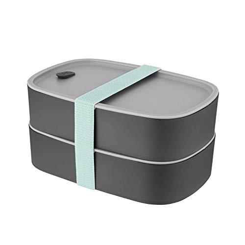 BergHOFF– Leo Thermoplastic Dual Bento Box Lunchbox Set – Grey & Mint – 3 Piece