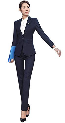 SK Studio Damen Business Hosenanzuge Slim Fit Blazer Reverskragen Karriere Hosen Anzug Set Blau 34 Tag M