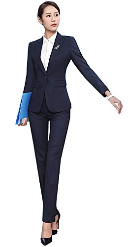 SK Studio Damen Business Hosenanzuge Slim Fit Blazer Reverskragen Karriere Hosen Anzug Set Blau 34 Tag M